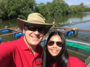 Cambodian Cage Farm on the Otres River with the USSEC Myanmar Technical Manager