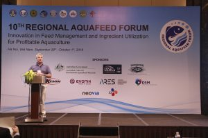 Presenting at the 10th Annual Regional Aquafeed Forum in Hanoi, Vietnam