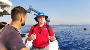 Discussing marine fish issues on a cage site in Cyprus